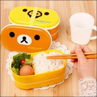 Wholesale Rilakkuma Lunch Boxes - BY DHL 200PCS Brown Microwave Rilakkuma Bento Yellow Microwave Nostrils Chickens Multilayer Children Lunch Box with Chopsticks