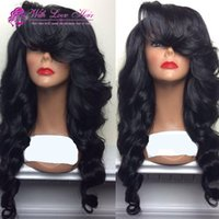 Wholesale Glueless Lace Bangs - Withlovehair Glueless Synthetic Lace Front Wig With Bangs Hair Wig Heat Resistant Cheap Female Wig Perucas In Stock Free Shipping