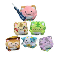 Wholesale Cute Colorful Stuffed Animals - Anime Cute 6 pcs Set Maruneko Club Kitty Cat Plush Toy Small Pendant Soft Stuffed Animal Doll 7.5 CM with Colorful Keychain