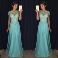 Wholesale Long Evening Beaded Rhinestone Dress - Chic Blue Evening Dresses 2017 Jewel Neck Illusion Rhinestones Major Beaded 3 4 Long Sleeves Chiffon Formal Prom Party Gowns Celebrity Dress