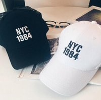 Wholesale Snapback Embroidery Nyc - New style solid black white Baseball Cap Hat summer style sun hat men women embroidery NYC 1984 outdoor sport golf hat snapback hat