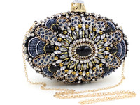 Vintage Designer Mulheres Fashion Party Black Crystal Rhinestone Hard Metal Box Evening Clutch Bag Bolsa de casamento nupcial Bolsa Bolsa ombro