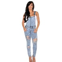 Wholesale Jumpsuits Longo - Bodysuit 2016 Macacao Feminino Longo Stone Wash Denim Destroyed Fitted Overall Casual Summer Jeans Jumpsuit Women