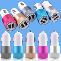 Wholesale Dual Ipad Cable - Mini Aluminum metal 12V 2.1A&1A Dual 2 Port Universal USB Car Charger Cable Adapter For iphone ipad 2 3 4 5 6 Samsung Galaxy S6 S5