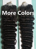 Wholesale Dark Auburn Micro Ring Extensions - 5A Grade 10-28'' Deep Wavy 0.5g*200s Black Brown Blonde Mixed Ombre Color 100% Indian Remy Human Hair Extensions Loop Micro Rings