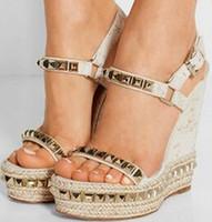 Wholesale Embellished Sandals - Summer 2016 New Brand Fashion women 140 mm Embellished Cork Tribuli Cataclou Studded Ankle Strap Leather Wedge Sandals Shoes