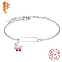 Wholesale Named Baby Gifts - BELAWANG 925 Sterling Silver Pink Enamel Cartoon Baby Stroller Children Bracelets Personal DIY Engrave Letters or Name for Free 11-15cm