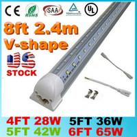 Wholesale Dlc Led Tube - V-Shaped 4ft 5ft 6ft 8ft Cooler Door Led Lights Tubes T8 Integrated Led Tubes Double Sides SMD2835 Led Fluorescent Lights AC 85-265V UL DLC