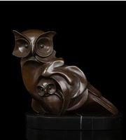 hiboux en laiton vintage achat en gros de-Sculpture Vintage l Bronze Statue de hibou En Bronze Vintage animaux sculptures Avec Figurine de vacances Figurine Base En Marbre