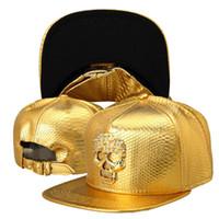 Wholesale Batman Hat Snapback - 2016 Luxury Golden PU Leather hip hop hats Diamond Crocodile Grain men women snapback Superman Batman DJ Rap baseball caps