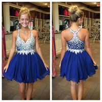 Wholesale Sexy Cross Skirt - Crystal royal blue Prom Dresses Short Homecoming Dress with Beaded Straps Chiffon Mini Skirt 8th grade graduation dresses 2016 Cocktail Dres