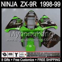 Wholesale Kawasaki Stock Fairings - Green black Free shipping+8Gifts For KAWASAKI NINJA ZX9R 98-99 98 99 Y1651 ZX-9R Body ZX 9R 9 R ZX9 R 98 99 1998 1999 Fairing Stock green