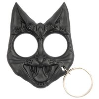 black cat keychain - Cute Black Evil Cat Outdoor Survival Keychain Self Defense Tool Wild Cat Self Defense Keyring Evil Cat Safety Keychain Finger Knuckles