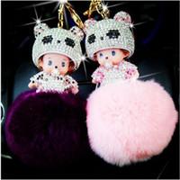 Wholesale Cute Doll Lovers - Free shipping Cute Monchichi doll Key chain Monchichi Sleutelhanger Rhinestone Rabbit Fur Ball Pom Pom Keychain Women Key Holder