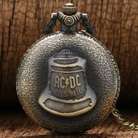 Wholesale Chain Watches For Men - Wholesale-Vine Bronze Retro Kongfu Shao Lin Temple Big Hells Bell Pocket Watch with Chain Necklace for Men