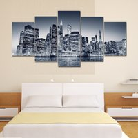 Wholesale New York Paint - 5 Panels New York Street View Oil Painting Canvas Beautiful City View Canvas Art Unframed Wall Art Decor For Bedroom Living Room