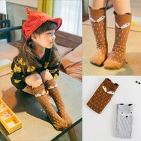 Wholesale Korean Boots For Girls - 2016 Korean Style Girls Fox Leg Warmers Knee High Cotton Casual Stockings Soft Boot Wear With Stereo Animal Ears For Bbay Children