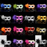 Wholesale Masquerade Cool Party - Cool Women Side Flower Masquerade Masks 19 Colors Women Fashion Half Face Halloween Masks Halloween Party Celebration PVC Masks