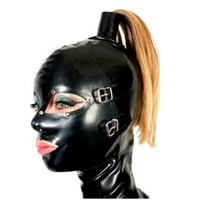 Wholesale Mask Hair Accessories - sexy lingerie design sexy products female women Latex Mask Hoods back zipper Fetish Pull-through Holes For Hair hole plus size