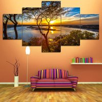 Wholesale Arts Panel - New Panel Homes Natural Canvas Painting Unframed Painting Living Room Bedroom Canvas Wall Art Natural City Landscape Paintings 5 Panels