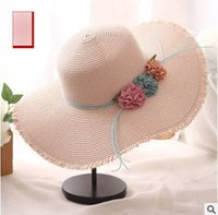 Wholesale Straw Sombreros - Summer mother and dauther sun hat girls sombreros foldable straw sunshade cap womens stereo flowers beach crochet sunhat R0805