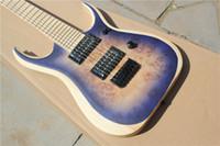 Wholesale Jumbo Eye - Custom Rare 7 Sting Guitar RGDIX7 Purple Burl Birds Eye Maple top Electric Guitar Ultra Thin Body Jumbo Frets