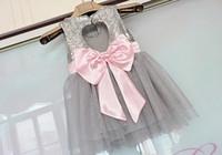 Wholesale Summer Love Princess Dress - Girls Sequins princess dress 2016 new kids back love heart Bows tulle tutu dress girls gray sequins party dress children's days dress