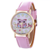 Wholesale Snow Wrist Watch - 2016 red owl snow flower dial women watch fashion ladies leather girls students dress quartz simple wholesale wrist watches