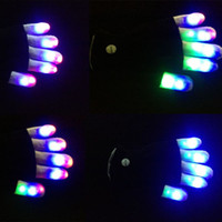 Wholesale Glow Gloves Fingertips - High Quality 7Modes Magic Novelty Glove Rainbow Flash Fingertip LED Gloves Unisex Light Up Glow Stick Gloves Mittens Hot