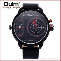 Wholesale Unique Led Watches - Brand OULM 3221B Unique Design 2 Time Zone Watches Men Leather Band LED Diaplay Casual Quartz WatchClock Sport Relogio Masculino