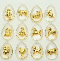 Wholesale Chinese Zodiac Animal Charms - Fashion whoelsale 12PCS New Arrival Chinese Zodiac Crystal Pendant Fashion Accessories DIY Fit bracelet Necklace Jewelry Findings