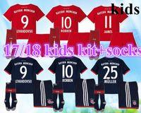 Wholesale Boys Add - 2017 2018 JAMES kids kits add socks home away a+++soccer jersey 17 18 LEWANDOWSKI football shirt ROBBEN Children Camiseta KIMMICH maillot.