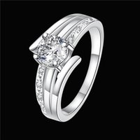 Wholesale Three Finger Diamond Ring - Hot sale Full Diamond fashion Driving three lines 925 silver Ring STPR055D brand new white gemstone sterling silver finger rings