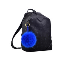 Wholesale Fox Fur Purse - Brand New Fox Fur Ball Pom Pom Keychain Womens Bag Purse Charms with Golden Key Chain Free Shipping[TP99041]