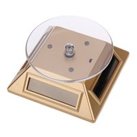 Wholesale Display Turntable Solar - New 360 Degrees Turntable Rotating Jewelry Watch Ring Display Stand Solar Showcase with 3 Colorful LED Lights