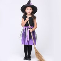 Wholesale Wholesale Holiday Printed Ribbon - Girls cute Witch cosplay dress 2pc sets The witch hat+sleeveless dress with dot printing ribbon bowknot kids holloween party performance