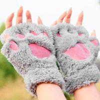 bärentatze handschuhe klauen großhandel-Frau Winter flauschige Bär / Katze Plüsch Pfote / Klaue Handschuh-Neuheit weiche Frottee Dame halb bedeckt Handschuhe Fäustlinge Valentinstag Geschenk