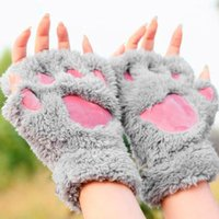 Wholesale Woman Winter Fluffy Bear Cat Plush Paw Claw Glove Novelty soft toweling lady s half covered gloves mittens Valentine s Day Gift