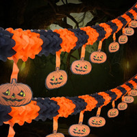 Halloween Party Pull Flower Decoração Halloween Paper Garland Banners Pumpkin Flowers Tipo suspenso Home Hotel Office Party Garden Bar Decor
