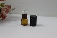 Wholesale Small Perfume Roll - LOT SMALL 1ML AMBER EMPTY PERFUME ROLL ON ROLLER BALL GLASS BOTTLE(AMBW)