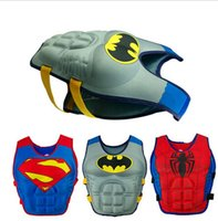 Wholesale Baby Swim Life Jackets - Baby Life jackets batman superman spiderman princess KT Micky drifting vest children swimming life vest kid Rafting life jacket D407 2