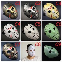 Wholesale jason face - Full Face Mask Antique Killer Mask Jason vs Friday The 13th Prop Horror Hockey Halloween Costume Cosplay Mask