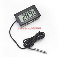 Wholesale Digital Lcd Probe Thermometer - 400pcs Professinal Mini Digital LCD Probe Aquarium Fridge Freezer Thermometer Thermograph Temperature for Refrigerator -50~ 110 Degree FY-10