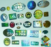 özel etiket baskısı toptan satış-Özel Lazer Hologram baskı çıkartmalar logo güvenlik etiketi baskı için çıkarılmaz taklit