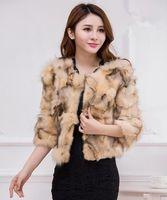 Wholesale hot pink faux fur coat - Hot Imitation Fox Fur Coat Ladies Short Section Fashion Coats 2017 new Autumn winter Jacket Women Clothing Elegant Seven Sleeves Women Coats