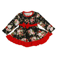 Wholesale fall girl clothes for sale - Group buy Christmas Baby Girls Dress Floral Long Sleeve Fall Girls Dress Ruffle Western Kids Clothes Fashion Girls Dress with Bow Retail
