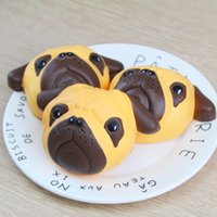 Wholesale Diy Kawaii Phone - 50pcs lot Kawaii Squishy Dog Face Bread Soft Slow Rising Phone Straps DIY Pendant Stretchy Squeeze Cream Scented Cake Kid Toy Gift