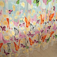 Wholesale Sheers Curtains Cheap - Romantic Bedroom Cheap Ready Made Finished Organza Child Window Cortina Butterfly Curtain for Living Room Home Decor Sheer Curtains