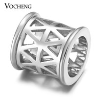Wholesale Out Metal Charms - VOCHENG Endless Charms 3 Colors Plated Copper Metal Hollow out Interchangeable Accessories Fit Sheepskin Bracelet VC-231