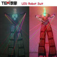 Wholesale David Guetta - LED Luminous Robot Costume David Guetta Robot Suit Performance Illuminated Kryoman Robotled Stilts Clothes Luminous Costumes